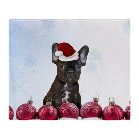 Bulldogs Fleece Blanket - CafePress - Christmas French Bulldog - Soft Fleece Throw Blanket, 50