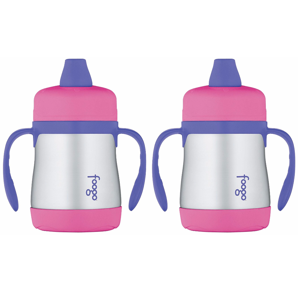 Thermos Foogo Vacuum Insulated 7oz Sippy Cup w Handles (Pink Purple) 2PK by Thermos