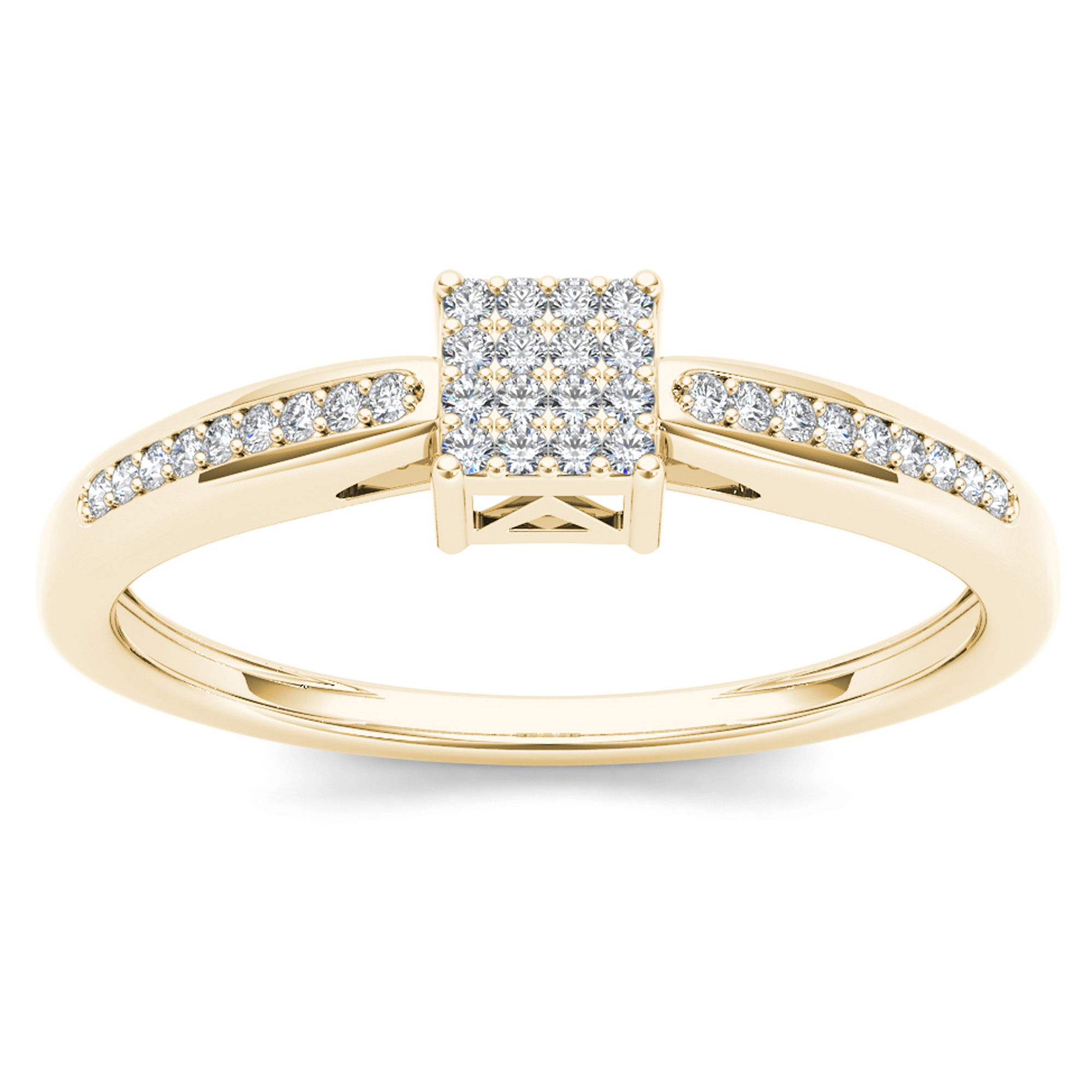 Imperial 1/10Ct TDW Diamond 10K Yellow Gold Cluster Engagement Ring