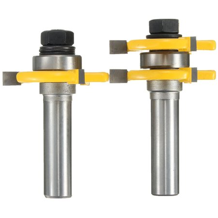 2Pcs/Set 3'' 1/2''x1/4'' Hard Alloy Roundover Matched Tongue + Groove Wood Router Bit Sets Tools Woodworking