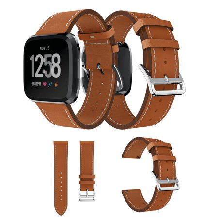 For Fitbit Versa Lite Strap Bands, EEEKit Adjustable Replacement Leather Strap Sports Accessory Wristband for Fitbit Versa & Fitbit Versa Lite (Versa Leather)