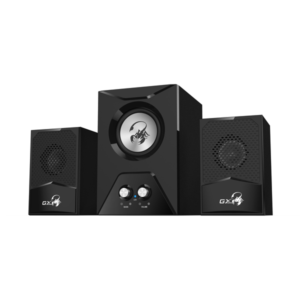 GX Gaming SW-G2.1 500 15W Wooden Computer Speaker System with Subwoofer, Black by GX Gaming