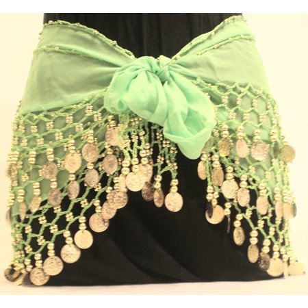 Lime Green Chiffon Dangling Gold Coins Belly Dance Hip Scarf, Vogue Style, Made from chiffon with gold coins By Belly Dancing - Dance Scarves