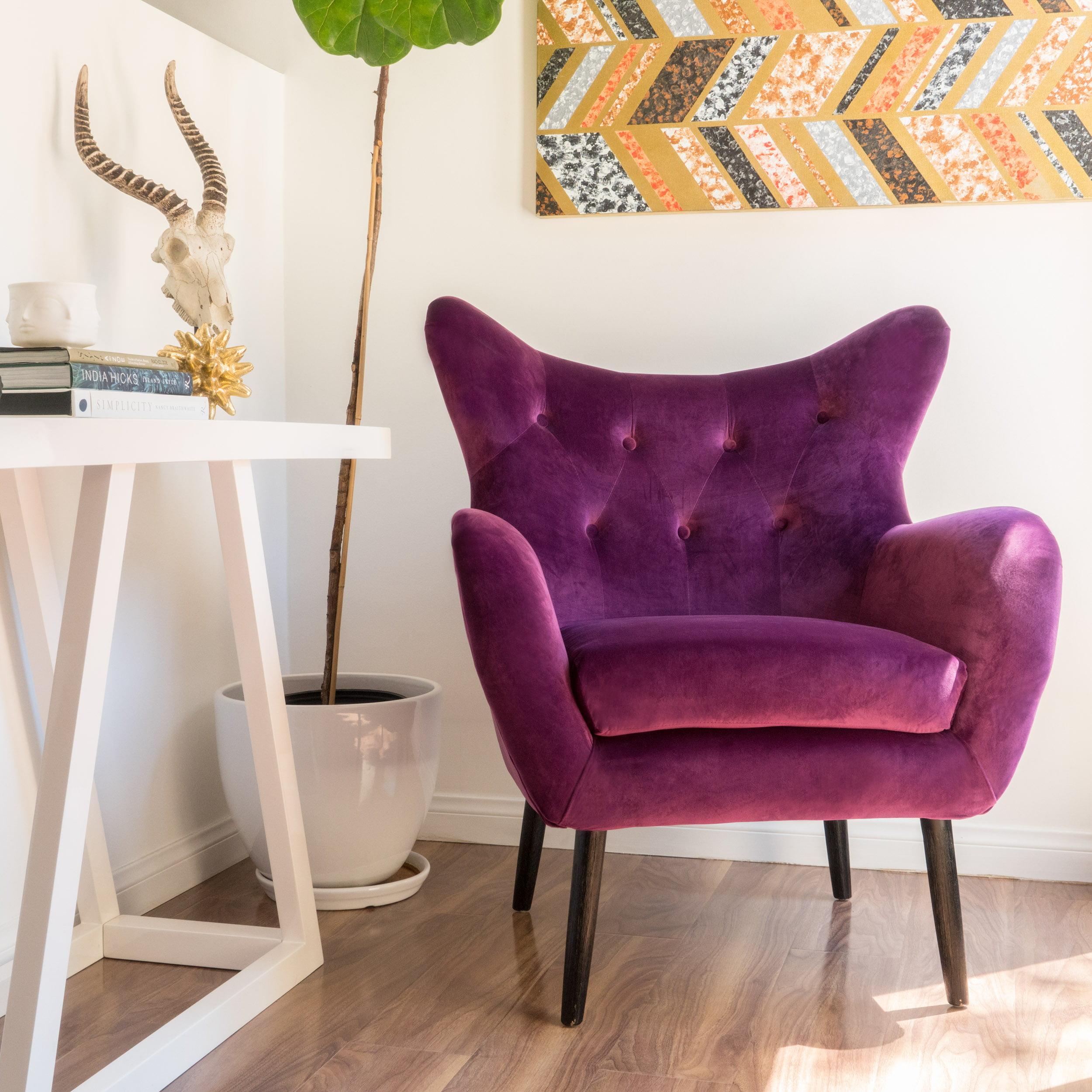 Noble House Simon Fuchsia Velvet Arm Accent Chair