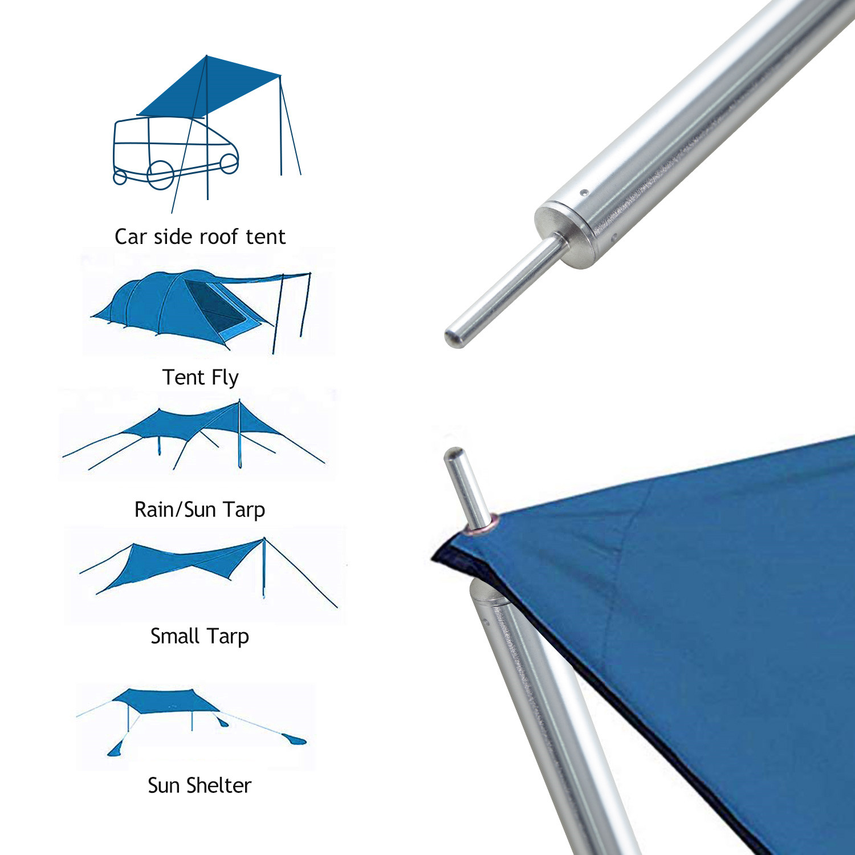 "Universal Aluminum Adjustable Camping Tarp 90/"" Telescoping Tent Poles 2x"