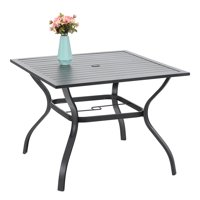"MF Studio 37"" Outdoor Patio Bistro Metal Steel Slat Dining Table with 1.7"" Umbrella Hole, Black"