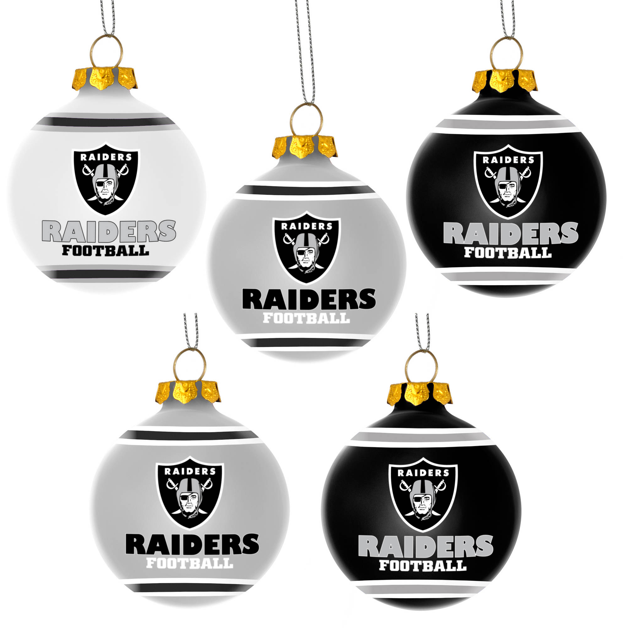 Forever Collectibles NFL 5-Pack Shatterproof Ball Ornaments, Oakland ...