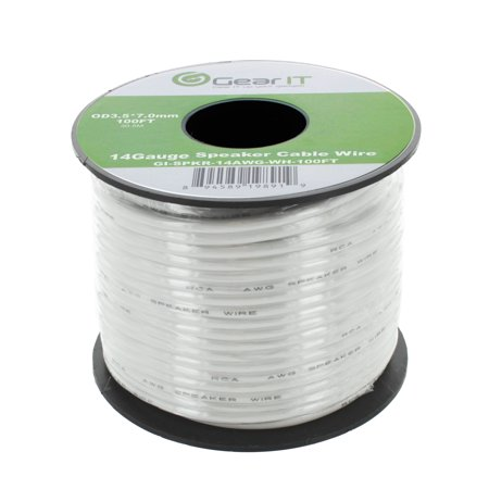 Speaker Wire, 14-Gauge Outdoor Speaker Wire, GearIT 14 AWG (100 Feet / 30.48 Meters) Outdoor Installation Premium Quality Speaker Wire, White