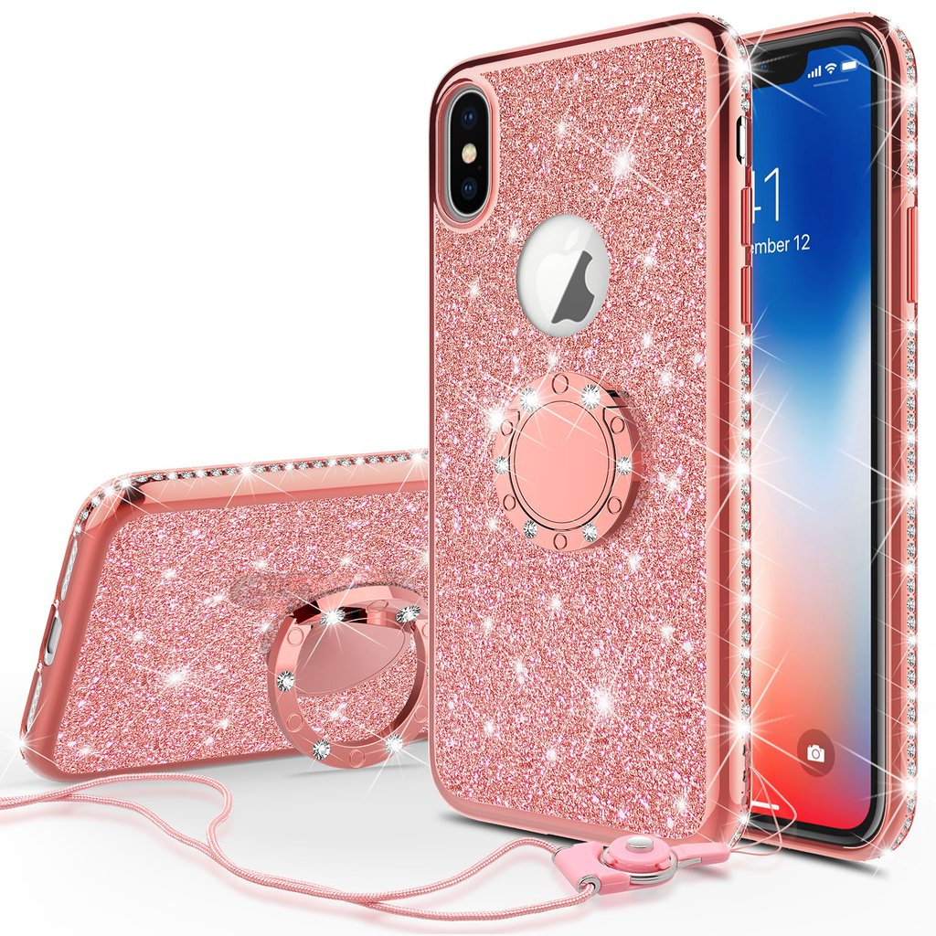 Glitter Cute Ring Stand Phone Case for Apple iPhone X Case,Bling Bumper Kickstand Sparkly Clear Soft Protective for Girls Women - Rose Gold
