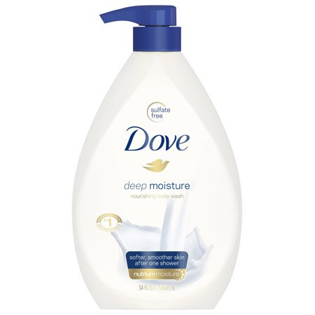 (2 Pack) Dove Deep Moisture Body Wash Pump, 34 oz (Best Long Lasting Body Wash)