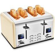 Savania 4-Slice Stainless Steel Wide Slot Bread Toaster with Dual LCD Display, Control Panels, Bagel/Defrost/Cancel Functions, 6 Setting Shade Dial, and Removable Crumb Tray