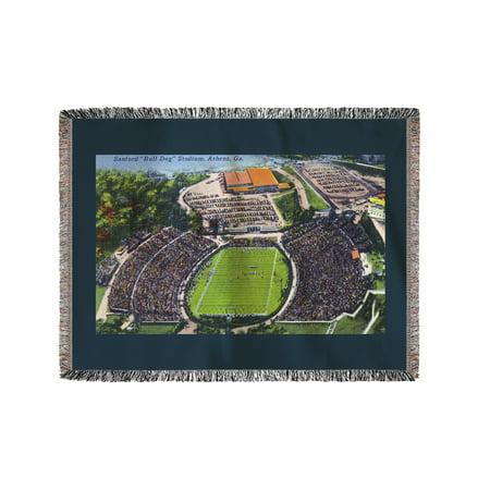 Athens, Georgia - Aerial View of Sanford (Bull Dog) Stadium (60x80 Woven Chenille Yarn Blanket)