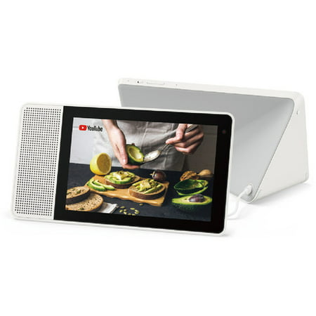 Lenovo 10u0022 Smart Display White & Bamboo - Includes Google Assistant - FHD Touchscreen - Use kickstand for flexibility - Connect w/ smart home devices