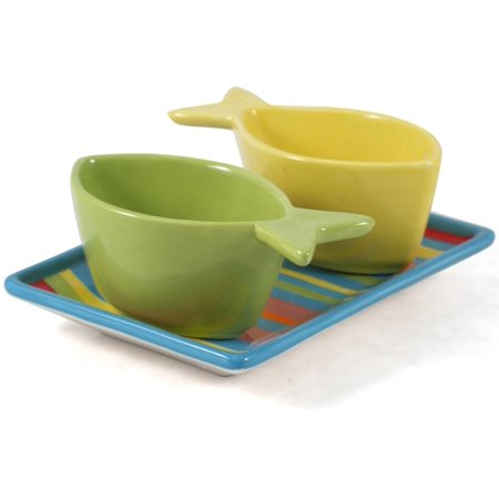 Boston Warehouse 3 Piece Go Fish Serving Bowl and Platter Set ()