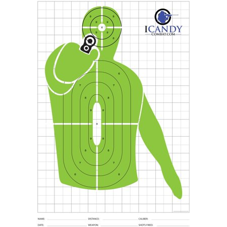 Green Shooter Paper Targets - High Viz Shooting Range Training Target For Shooters It may be your loved one in the hands of that Maniac Shooting Target holding a Handgun Shooting Target in it's hand. Have a great training while also saving a life. An Amazing Target for all levels of shooters because at any range you may use this target and with any caliber you will find it a great challenge not to hit the Hostage Target, and hit only the Terrorist Target. Great to be used for any firearm: 9mm Target, 22 Target, 22LR Target ? Perfect Police Training Target, SWAT Training Target, Military Training Target and not only. Extra-large 13x19 Size. Heavy Duty - Thick Paper. Printed in the USA.