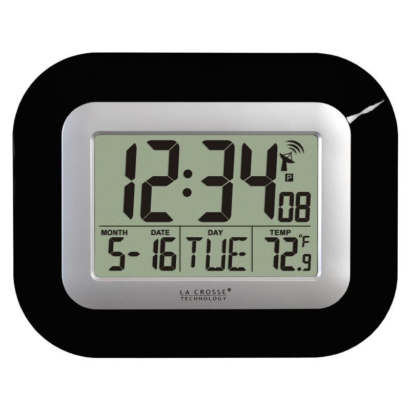 La Crosse Technology Atomic Digital Wall Clock with Temperature Display, Black