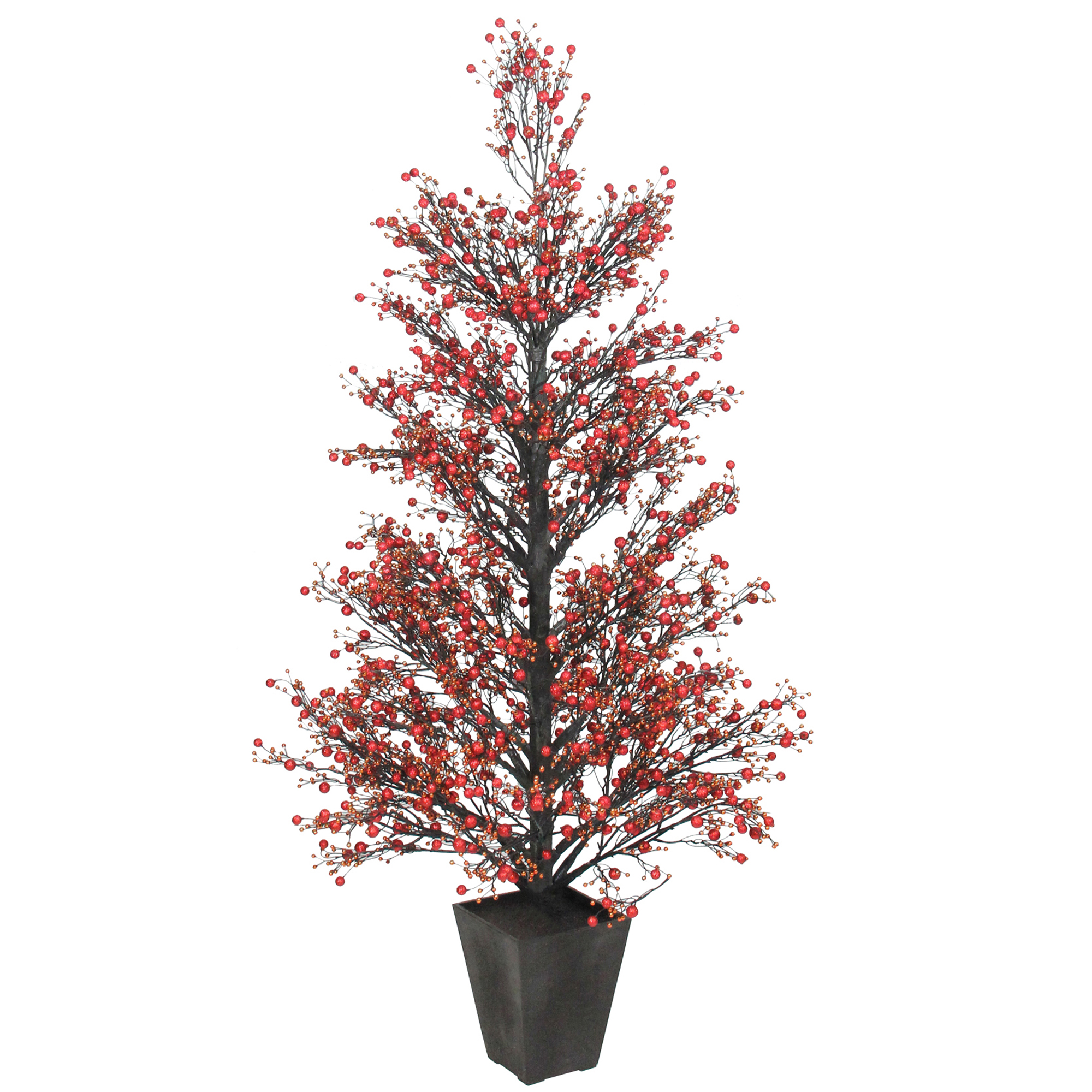 "51"" Potted Red & Black Glittered Berry Christmas Topiary Tree #XBZ728-RE"