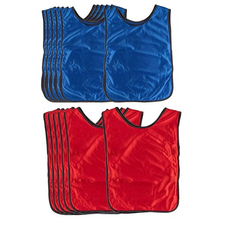 Scrimmage Vests - 12-Pack Soccer Pinnies, Team Jersey, Training Vest, Soccer Scrimmage Vests for Children Kids Adults, for Basketball, Football, Volleyball, Red and Blue, Above 12 Years