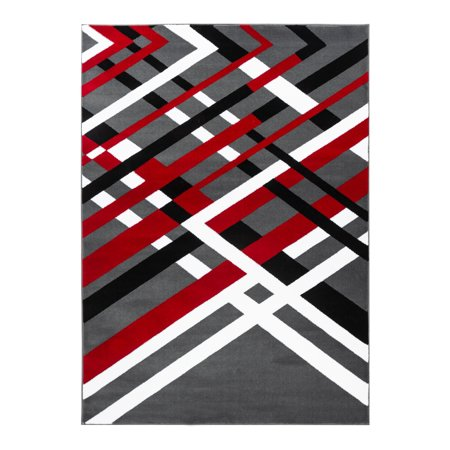 Summit Collection - Modern Abstract Gray, Black, Red and White Area Rug ()