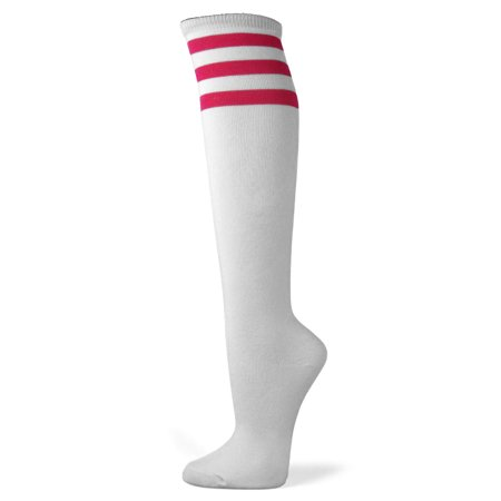 15724af75 Couver White Triple Striped Knee High Fashion Casual Tube Cotton Socks