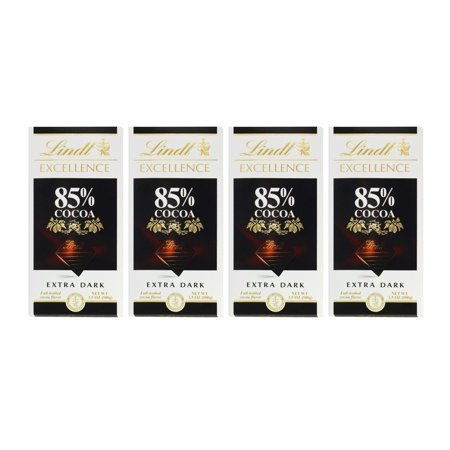 Lindt Excellence Extra Dark 85% Cocoa Chocolate Bars (4 Pack) 3.5 oz Bars by Lindt Rich Dark Chocolate Bar