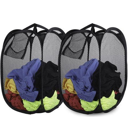 EEEkit 2 pack Smart Design Deluxe Mesh Pop Up Square Laundry Hamper w/ Side Pocket & Handles - VentilAir Fabric Collapsible Design -Space Saving- for Clothes & Laundry -(14 x 23 Inch) [Black]