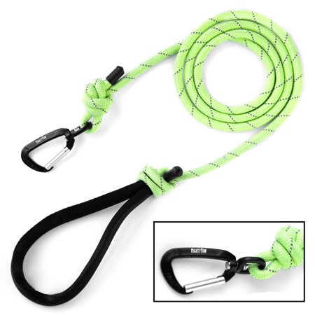 Felt Clip (Mighty Paw Rope Dog Leash, Premium Climbers Rope, 6 Foot Long with Reflective Stitching, Climbers Carabiner Clip (6 Feet, Green) )