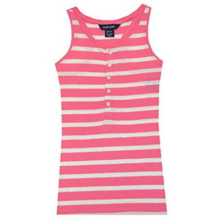 Ralph Lauren Girls Stripe Sequins Sleeveless Top (XL(16), Antique