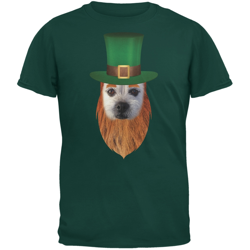St. Patricks Day - Funny Leprechaun Dog Forest Green Adult T-Shirt