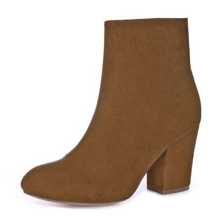 BC71429 Women Round Toe Side Zipper Block Heel Ankle Boots Brown/US 8 - image 1 de 7