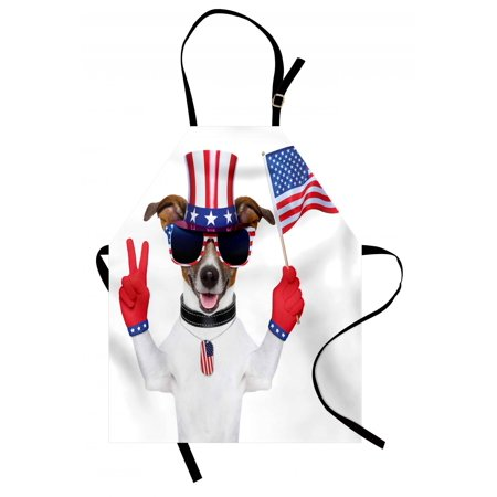 4th of July Apron Funny Pet Dog with an Uncle Sam Hat Holding a Peace Sign and an American Flag, Unisex Kitchen Bib Apron with Adjustable Neck for Cooking Baking Gardening, Multicolor, by Ambesonne