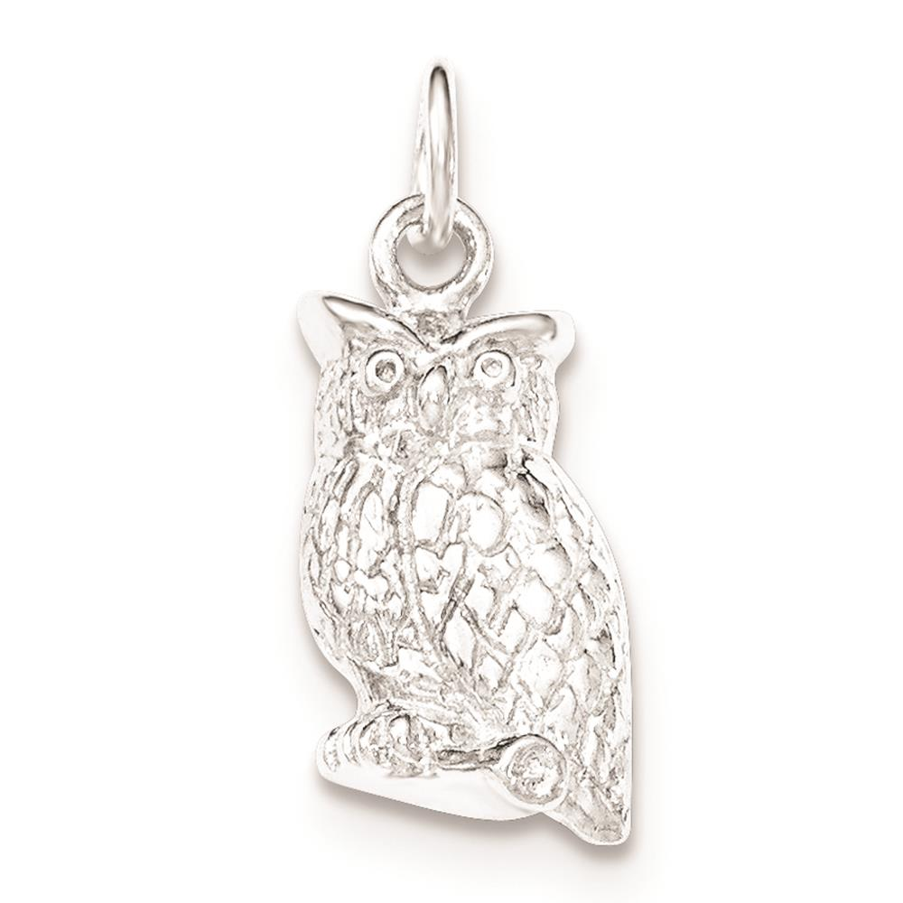 925 Sterling Silver Polished & Textured Perched Owl Open-back Charm Pendant