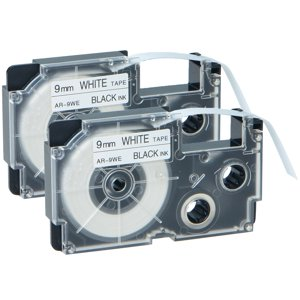 GREENCYCLE 2PK Black on White Label Tape Compatible for Casio XR9WE XR-9WE (9mm 0.35
