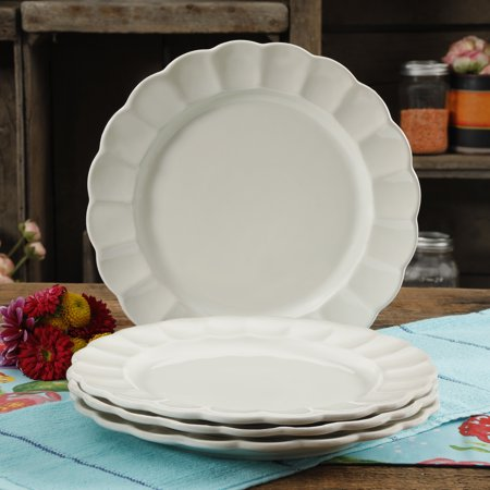 The Pioneer Woman 10.7-Inch Dinner Plates, Luster Linen, Set of 4