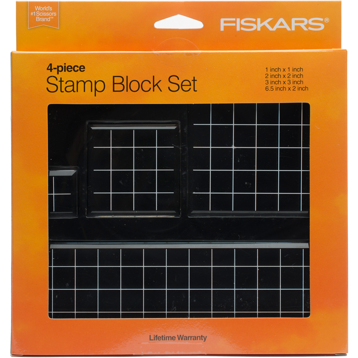 "Fiskars Stamp Block Set, 4pk, 1"" x 1"", 2"" x 2"", 3"" x 3"", 6.5"" x 2"""