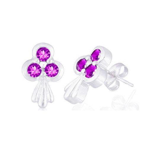 Oravo Round Cut Gemstone Three Stone Earrings Sterling Silver