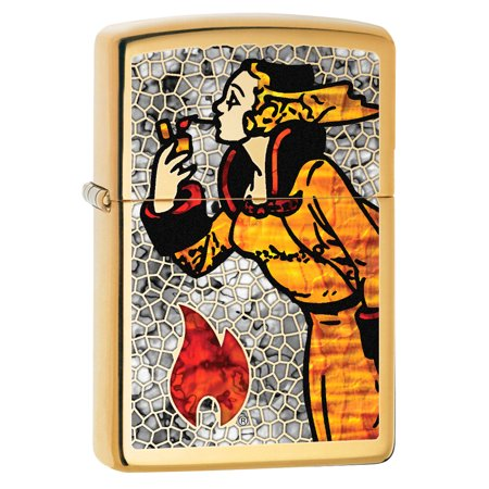 Zippo Lighter: Fusion Windy the Zippo Girl - High Polish Brass (Once On A High And Windy Hill)
