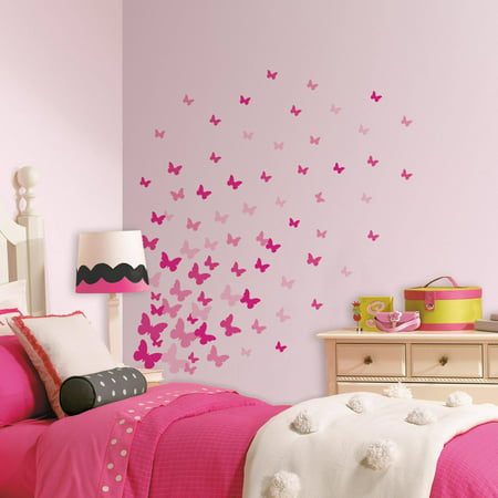 Pink Flutter Butterflies Peel and Stick Wall Decals