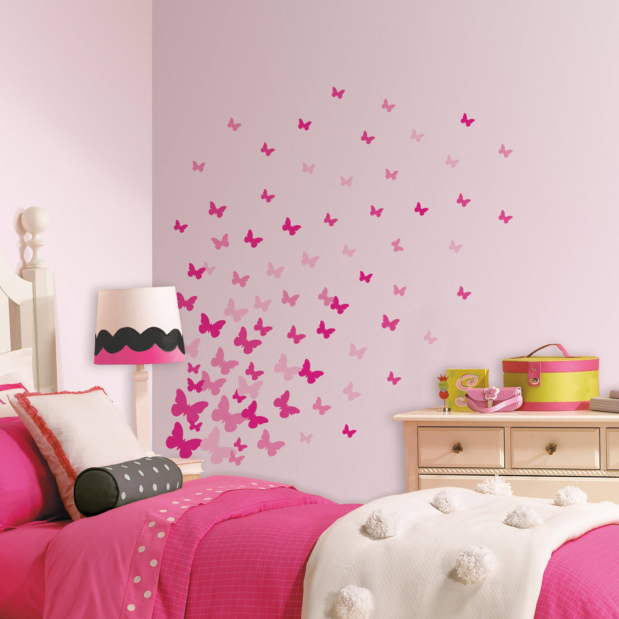Product Image Pink Flutter Butterflies Peel And Stick Wall Decals