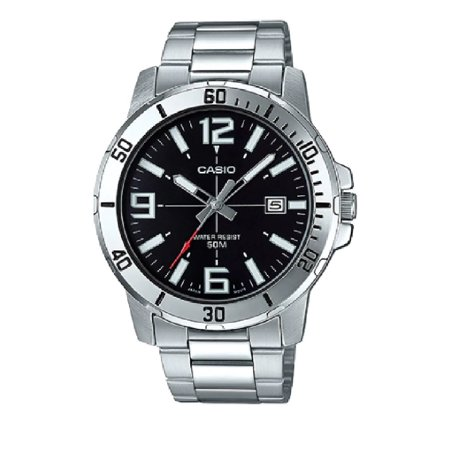Mens Analog Stainless Steel Band and Case Silver Black Dial 50-meter Water Resistance Watch