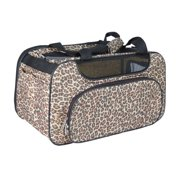 Brown Leopard Bag Carrier Mesh Window For Pet Dog Cat - One Size