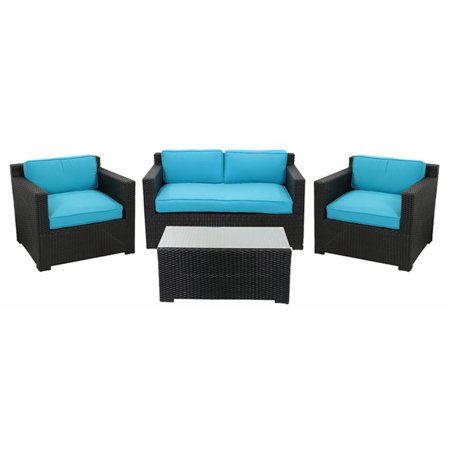 4-Piece Black Resin Wicker Outdoor Patio Furniture Set - Blue Cushions