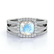 1.75 ct Cushion Cut Rainbow Moonstone & Diamond Halo Wedding Ring Set in 10K White Gold