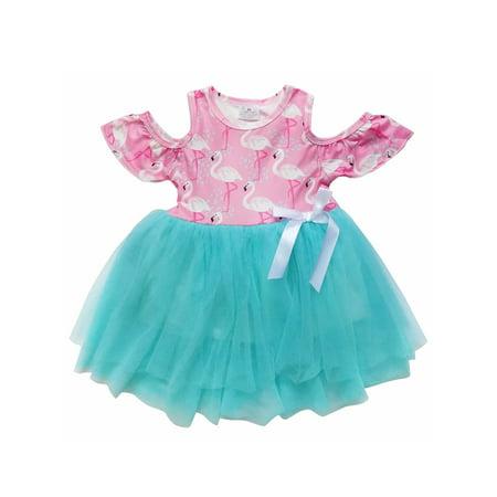Mermaid Chiffon (So Sydney Toddler Girls Cold Shoulder Short Sleeve Chiffon Skirt Tutu Dress )