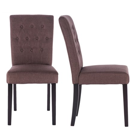 Costway Set of 2 Fabric Dining Chair Armless Accent Tufted Upholstered w/Solid Wood Legs ()