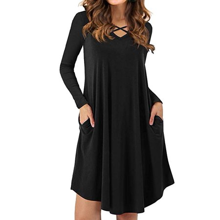 Women's Criss Cross Casual Dress Long Sleeve Swing Hem V-Neck Sexy T-Shirt Dresses with Pockets ()