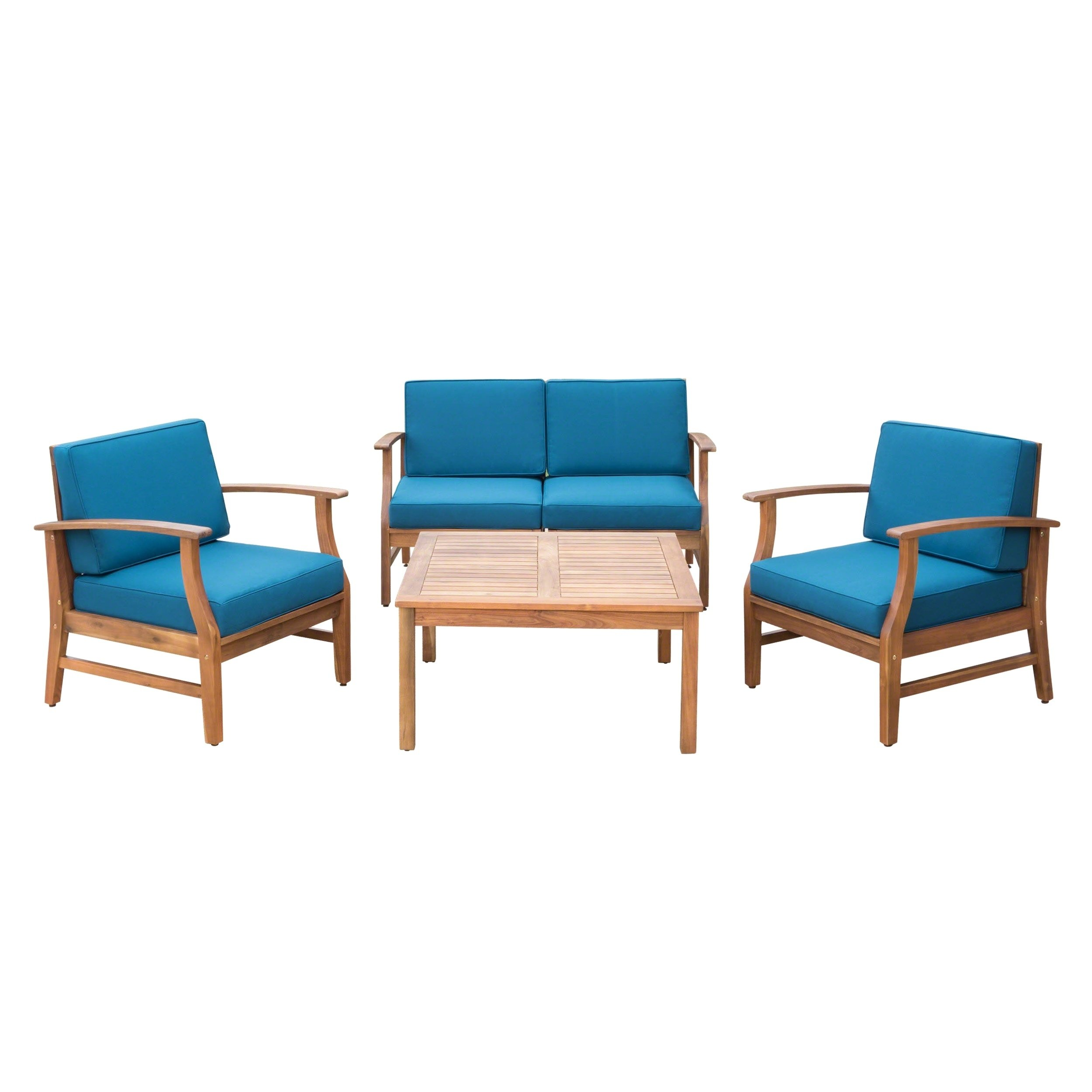 Christopher Knight Home Perla Outdoor Acacia Wood 5-piece Chat Set with Cushions by