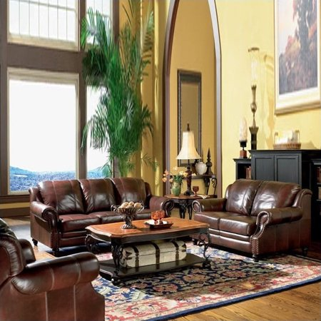 Coaster princeton 3 piece leather sofa living room set in for Three piece leather living room set