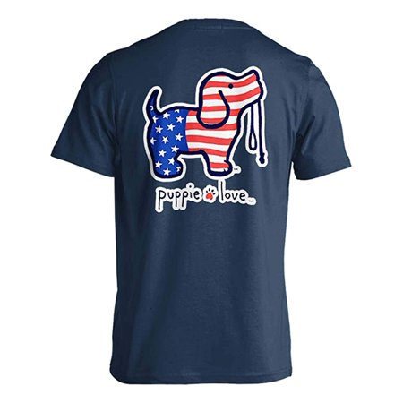 Puppie Love USA Pup Help Rescue Dogs T-Shirt- Blue Dusk- Small ()