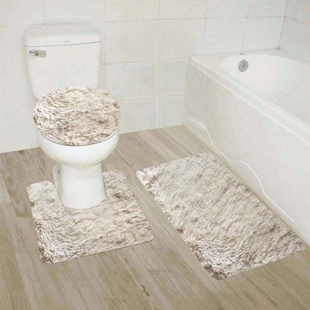 #9  Beige 3-Piece Solid Plain Shaggy Bathroom Rug Set, Large Bath Mat 20